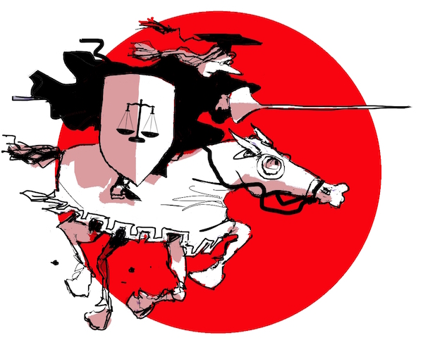 Cartoon of scholar-activist jousting with injustice on horseback.